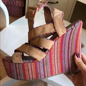 🌈🌈 Jeffrey Campbell Rainbow Embroidered Wedges